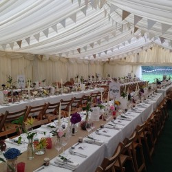 Classic bunting in a clearspan marquee built by Archers Marquees in Somerset