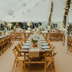 Cocos carpet in a rustic themed wedding in Bath - with rustic trestle tables and beechwood folding chairs.
