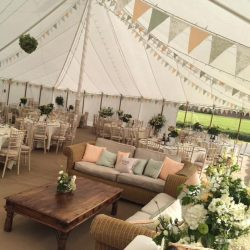 Rustic bunting in a traditional marquee built in Somerset by Archers Marquees