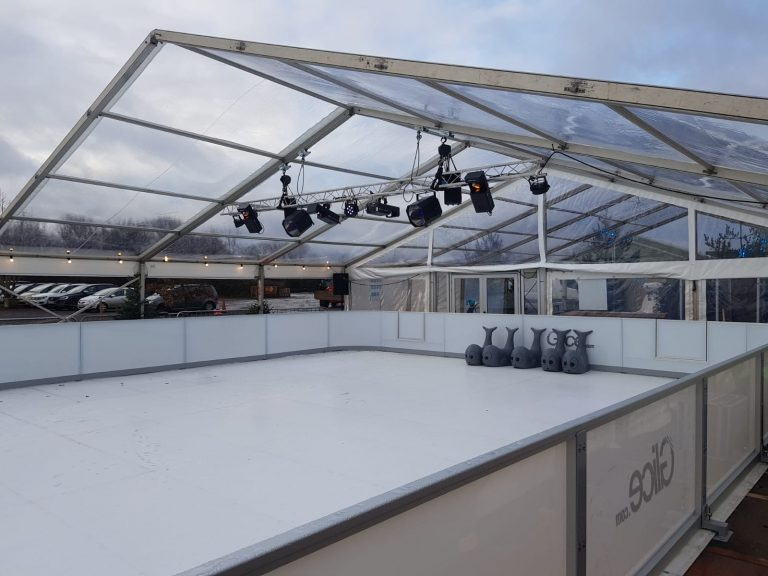 12m Clearspan marquee with clear roofs built for Avon Valley Ice Rink