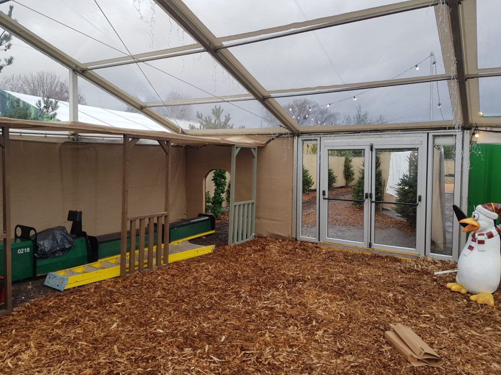 12m Clearspan marquee with clear roofs and double doors, built by Archers Marquees for Avon Valley Adventure & Wildlife Park