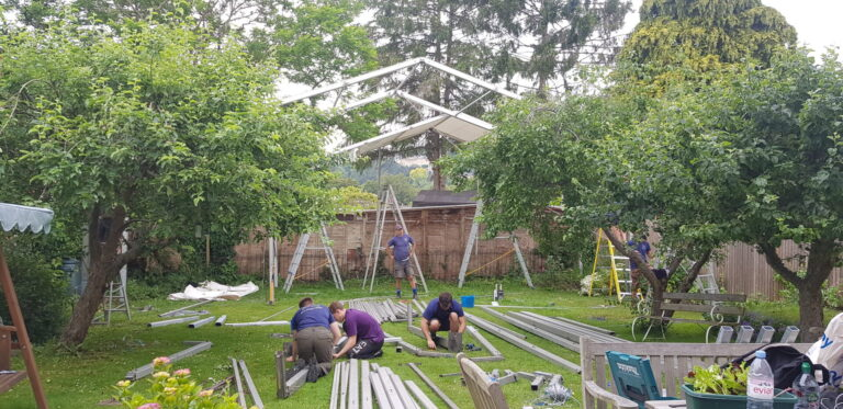 Archers Marquees on site at a build