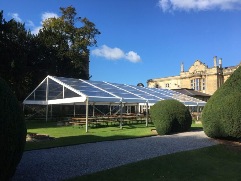 Dining Room marquee with clear roofs extension at Badminton School, to create extra space due to the Covid-19 pandemic
