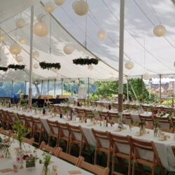 White lanterns in a traditional marquee built by Archers marquees