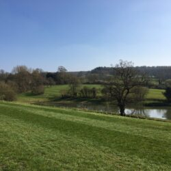 View of lake at Whitbourne Farm in Somerset